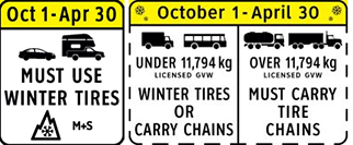 Winter tire and chain-up regulations in effect from October 1 to April 30