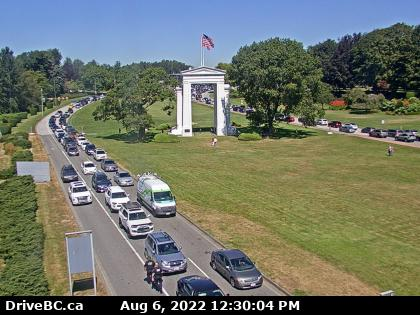 Peace Arch Crossing, at USA Border.